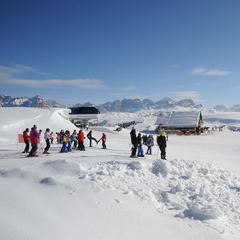 First skiers in Arabba, Dolomites Dec. 8, 2012