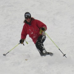 A telemark skier at Castle Mountain. Photo by Becky Lomax.