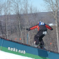 Sliding a rail at Nub's Nob.