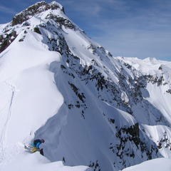 Pro skier Pep Fujas set to drop in at Silverton Mountain.