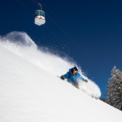 Four days after the last snow, Todd Ligare finds blower powder under the Mt Allen Tram.