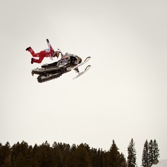 Levi LaVallee at the afternoon practice session for Snowmobile Freestyle. 