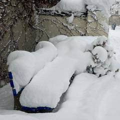 A buried bench at Boyne Mountain Resort.