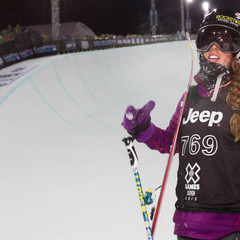 Maddie Bowman at the bottom of the Superpipe. - ©ESPN