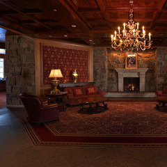 Glass chandeliers and crackling wood fireplaces at Snowbasin's Earl Lodge take apres ski to a new level.