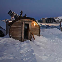 Highest oudoor sauna in Europe. Rifugio Bella Vista, Val Senales