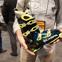 Scarpas Freedom SL is a true one-quiver ski boot that is high performing when touring and skiing the resort. It weighs in at a miniscule 3 lbs 13 oz for each boot, and had a molded carbon fiber frame in the upper boot for increased stability and the cuff