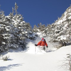 Dan Smith takes the surprising fresh snow on Thursday at Stowe, VT as a sign of things to come.