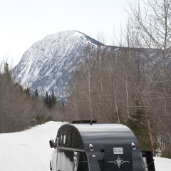 From the small village of Cap Chat, on the shore of the Gaspe Peninsula, we traveled the final 40km approach to the Chic Chocs Mountain Lodge in a 1950s Bombardier snowcat.