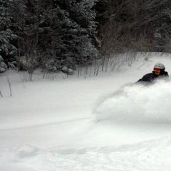 Pow turns at Bolton Valley.