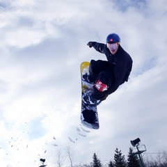 A snowboarder at Michigan's Bittersweet.