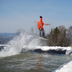 Pond skim to air. NEK skiers don't mess around. Photo Courtesy of Burke Mountain Resort.
