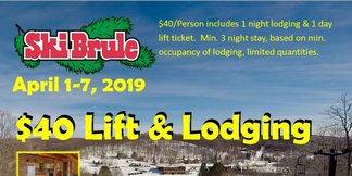April 1-7,2019 $40 Lift & Lodging Special ©Ski Brule