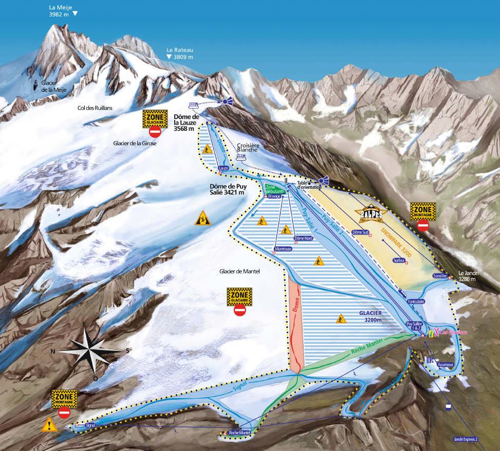 Plan des pistes du domaine de ski d'été des 2 Alpes