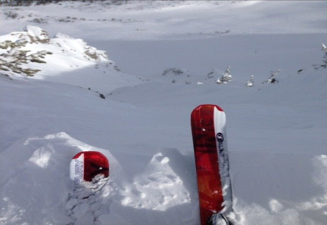 top of the Paranoids on Saturday, December 15 at Mammoth Mountain. tons of snow!