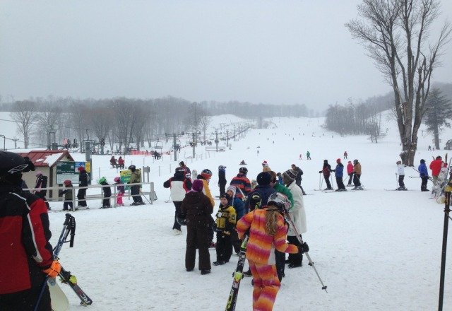 Lines are long but the snow conditions are good.