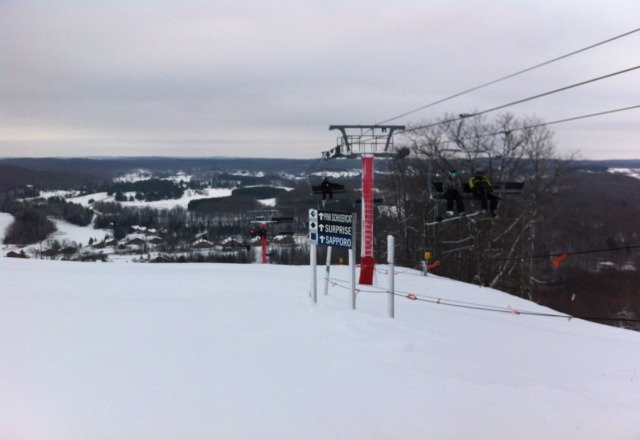 plenty of snow last weekend.  mostly groomed and Red lift had just opened.  great fun was had!