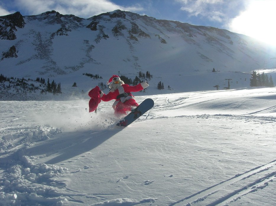 Santa snowboarding at Loveland, CO.