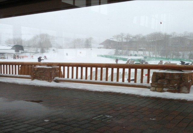 well its almost a white out condition and very windy but the snow is great and no crowds.