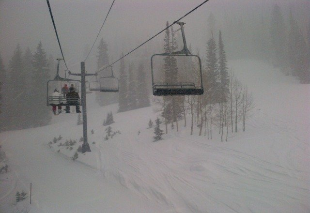 DUMPING today!!!  Tough visibility, but great skiing.   Tons of fresh tracks to be had on Summit and in Honeycomb Canyon.  Pow up to our knees in spots. Pic is from Sunrise lift.