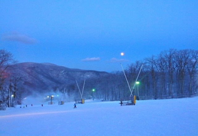 Here is a picture taken late this afternoon. Snow was great!