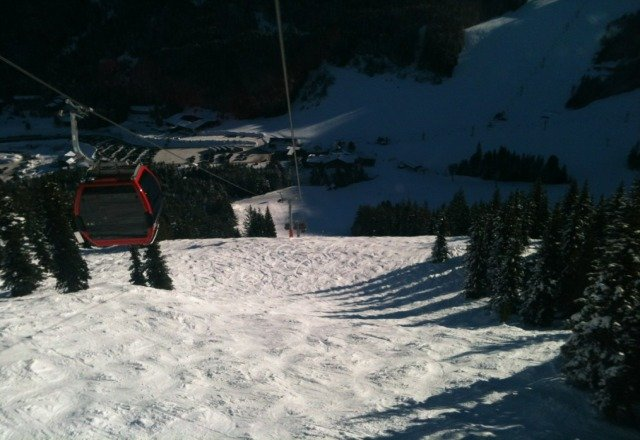 groomers are nice. playfull warm day. off the groomers can be rough if its in a shady area.