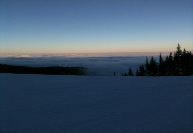 Icy with a layer of soft snow on top. Great conditions if you like to bomb down the hill.