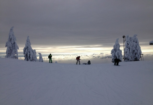 just before the clouds started to lift and the sun was showing. great skiing.