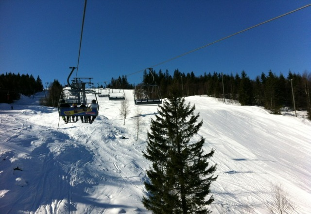 Perfect weather and great hills for skiing, temp. around -2 degree C. Not a cloud in the sky and sun is shining.