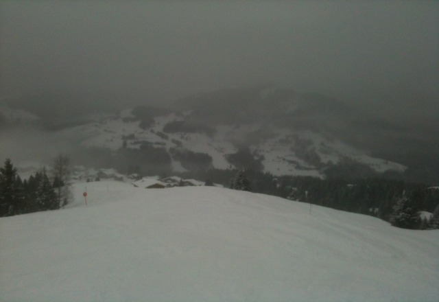 over 30cm of snow fallen today,  right down to the village! skiing is amazing!