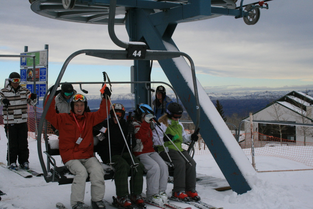 Skiers prepare to use the chairlift in Big Powderhorn Mountain, Michigan