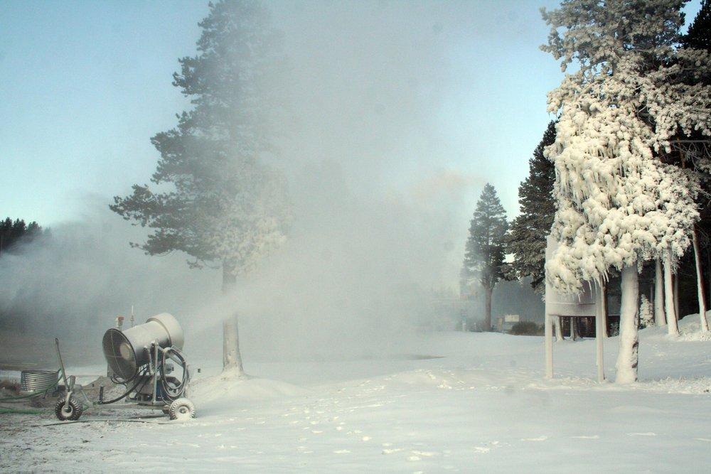 Boreal, California testing their snowmaking equipment.