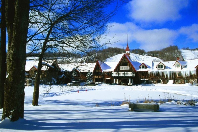 A view of the main lodge in Boyne Highlands, Michigan