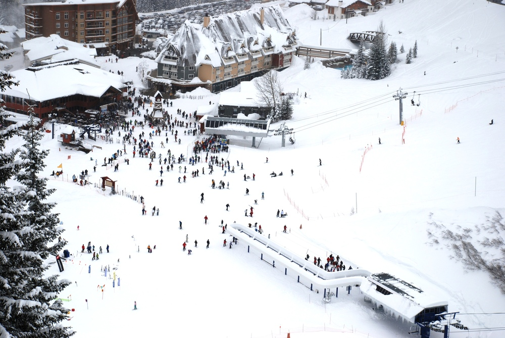 View of skiers and snowboarders in Schweitzer Mountain, Idaho