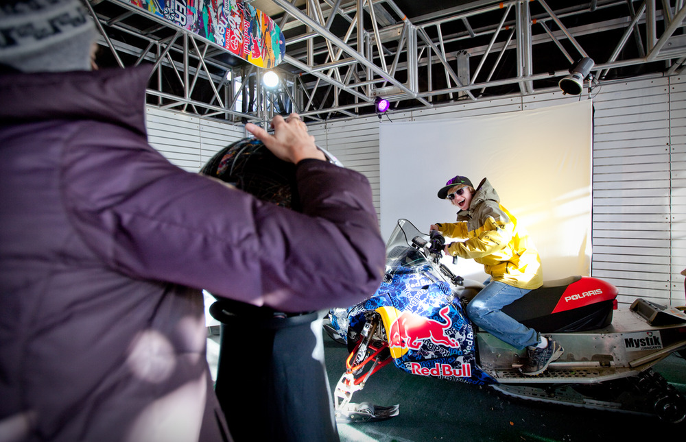 The Red Bull tent offers photo booths for fans, athlete autographs, and of course Red Bulls. Photo by Sasha Coben