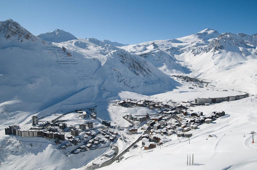 Aperçu des différents quartiers de Tignes (Val Claret, Le Lac, Le Lavachet) - © Andy Parant