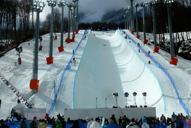 Rosa Khutor Extreme Park Olympic halfpipe. - © Brian Pinelli