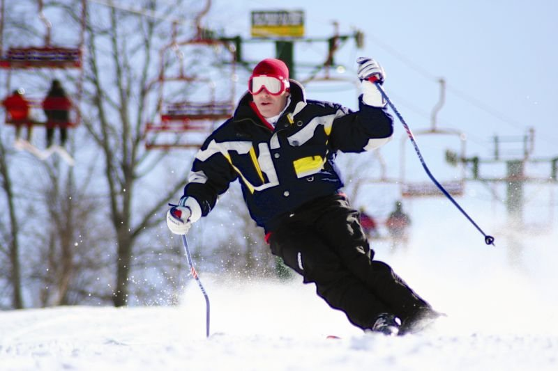 A skier maneuvers down the mountain at Indian Mountain, Michigan