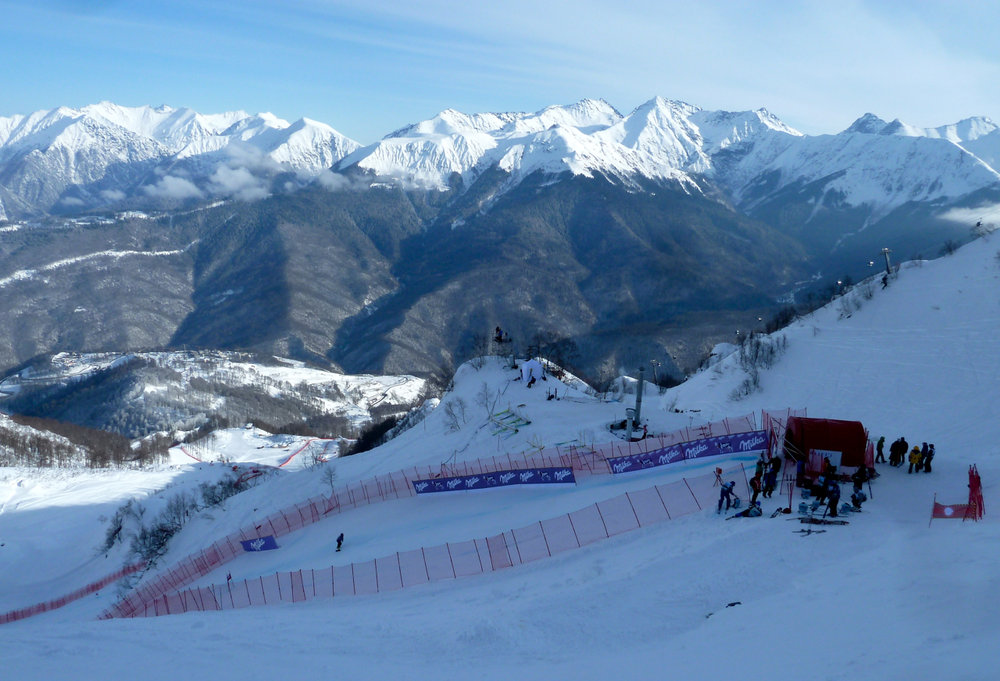 Western Caucasus Mountains looming above Olympic downhill start. - © Brian Pinelli