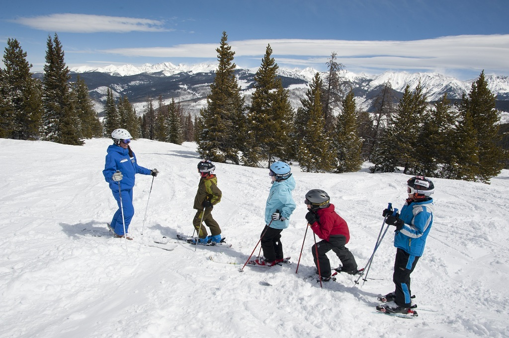 Kids learn how to ski at Vail Mountain in Colorado. Photo by Dan Davis courtesy of Vail Resort.
