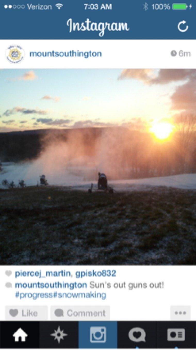 Making snow at Mount Southington