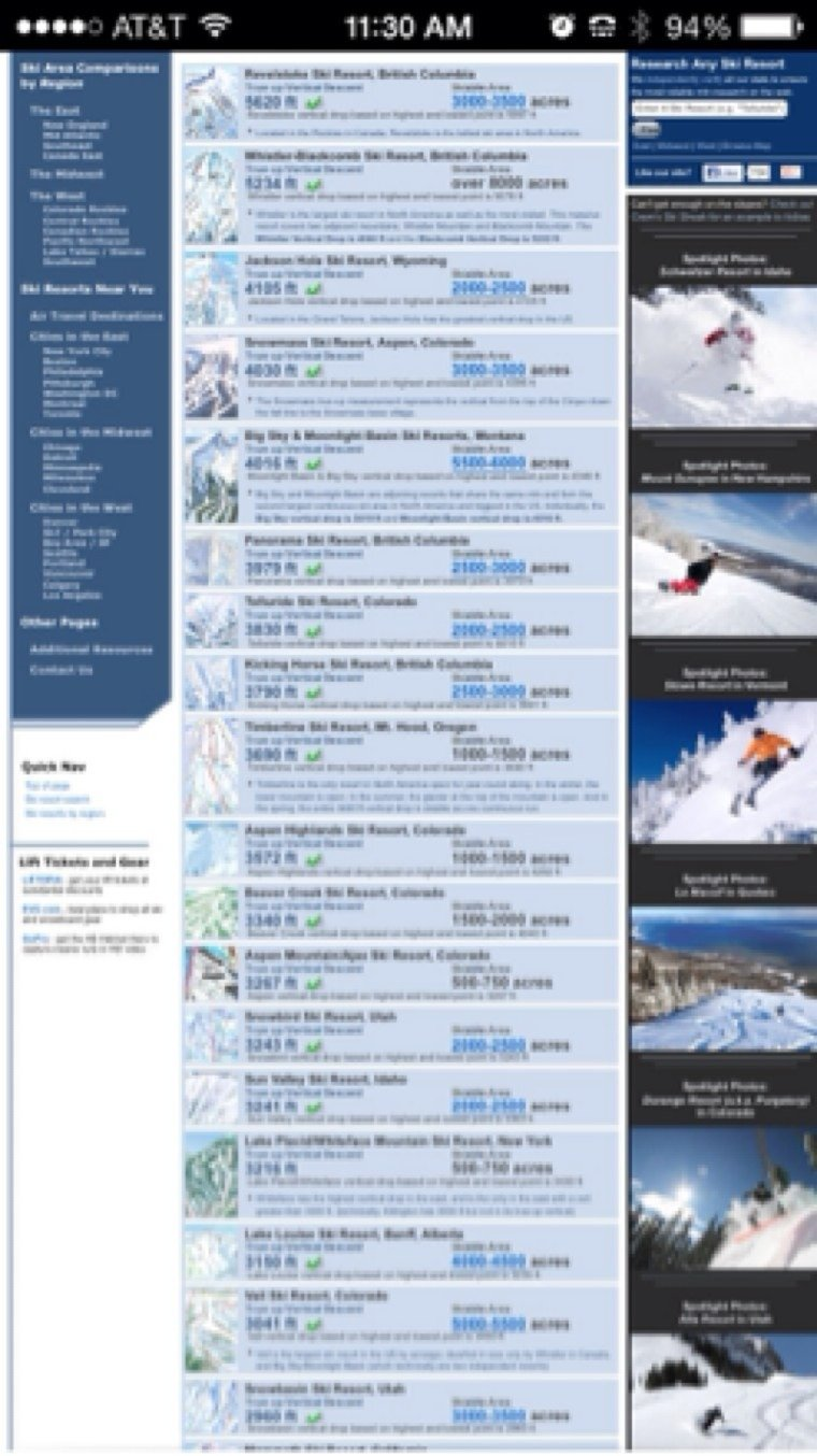 These are all the resorts that have a vertical greater than whiteface. Plus, notice how whiteface only has 500-750 acres. Also, the terrain at whiteface doesn't even come close to matching the terrain of most west coast resorts. ONE BOWL in most of vails back bowls are bigger than this entire resort.  So tell me again how whitefaces vertical makes it better than any west coast resort.