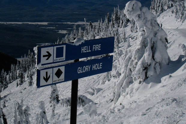 Hellroaring Basin offers the Hellfire cruiser, chutes, glades and aprons at Whitefish Mountain Resort. - © Becky Lomax