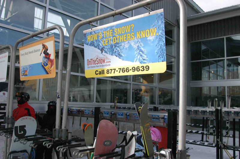 An On The Snow sign at Hunter Mountain, New York