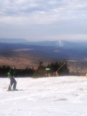 Great day even worth their ridiculous pre-season price.  Enough trails to keep me satisfied from 11:30-4, especially because there are so many different level trails open. Left MOUNT SNOW at 10:50 because I skied the entire mountain in ONE HOUR.