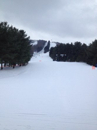 Trails are empty and awesome today.  convenient parking in the upper lot. Flurries right now. Can' beat the skiing today.