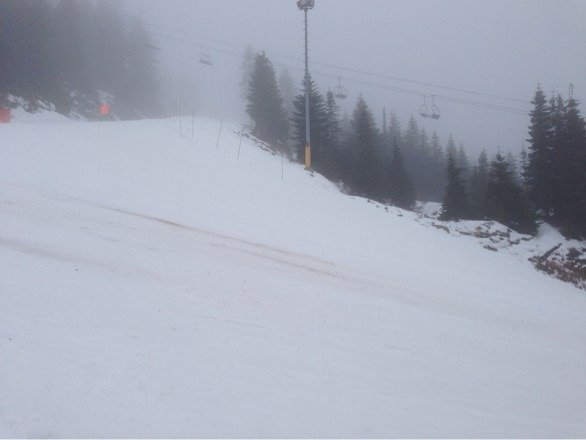 Soft snow as temperature is above freezing. Few patches of exposed dirt. Need new snow, come on Mother Nature!