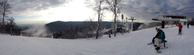 Great day considering warm up. Blowin snow like crazy! Got there at 8 and left at 1 - little to no lines!