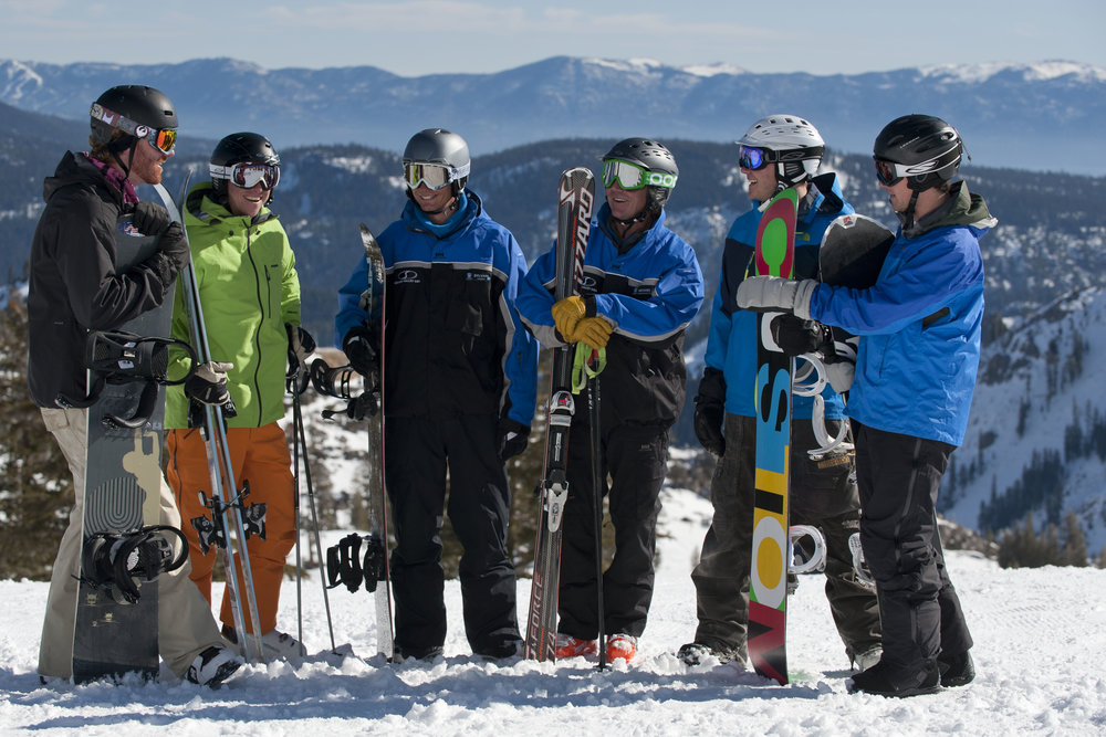 Try out one of Squaw and Alpine's specialty clinics (Women of Winter, Adventure 55, Jibs and Jumps and All-Mountain Excursions) with a buddy Jan 6-12 with this 2-for-1 deal.  - © DeVre/Squaw Valley