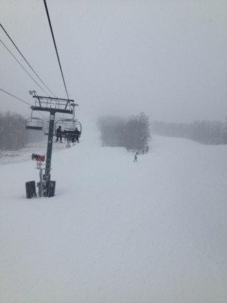 Snowing hard still. Powder now being pushed around. Good conditions right now
